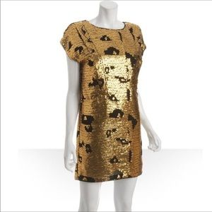 SEE BY CHLOE Black Gold Sequined Shift Dress 4 NWT